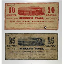 Watson's Corner, NJ. Simkin's Store 1862 Obsolete Scrip Note Pair.