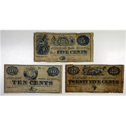 White Hill, NJ. William Cline. 1862 Obsolete Scrip Note Trio.