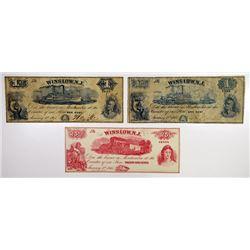 Winslow, NJ. Hay & Co. 1865 Obsolete Scrip Note Trio.