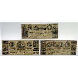 Woodbury, NJ. Camden & Woodbury Rail Road & Transportation Co. 1837 Obsolete Banknote Trio.