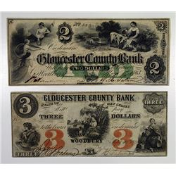 Woodbury, NJ. Gloucester County Bank 1861 & 1865 Pair of Obsolete Banknotes.