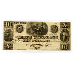 Tenth Ward bank 1840-50's Obsolete Banknote.