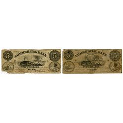 Commercial Bank 1856 Obsolete Banknote Pair with Whaling Vignettes.