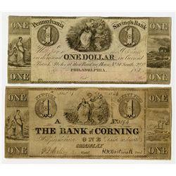 Bank of Corning, Pennsylvania Savings Bank, 1846 Obsolete Banknote Duo.