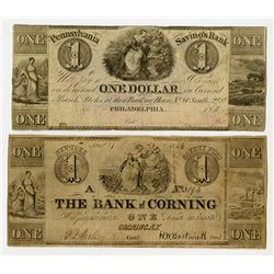 Bank of Corning, Pennsylvania Savings Bank, 1846 Obsolete Banknote Duo.