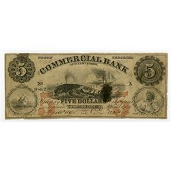 Commercial Bank of Wilmington, NC. 1856 Obsolete Banknote with Whaling Vignette.