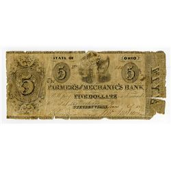 Farmer's and Mechanic's Bank 1840-50s Haxby SENC Obsolete Banknote.