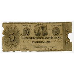 Farmer's and Mechanic's Bank. 1845 Haxby SENC Obsolete Banknote.