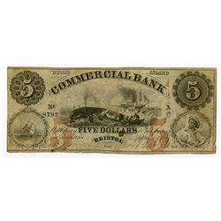 Commercial Bank. 1856. Obsolete Whaling Vignette Banknote.