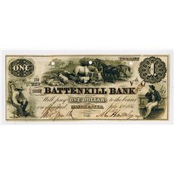 Battenkill Bank. 1856. Obsolete Banknote.