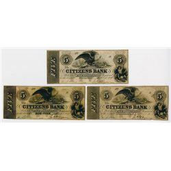 Citizens Bank. 1852 Obsolete Banknote Trio.