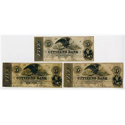 Citizens Bank. 1852 Obsolete Banknote Trio.