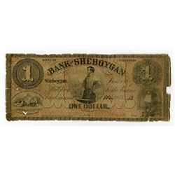 Bank of Sheboygan 1857 Obsolete Banknote.