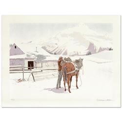 "William Nelson, ""Saddling Up"" Limited Edition Lithograph, Numbered and Hand Signed by the Artist."