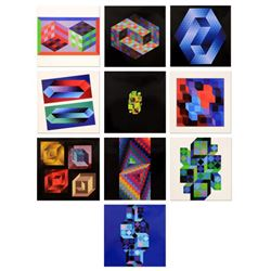 "Victor Vasarely (1908-1997), ""Hommage Al'hexagone Portfolio"" Includes 10 Heliogravure Prints, Titled"
