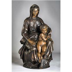 """Michelangelo """"Bruges Madona"""" Lost Wax Bronze Sculpture"""