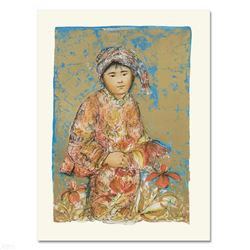 """""""Little Flower"""" Limited Edition Lithograph by Edna Hibel (1917-2014), Numbered and Hand Signed with"""