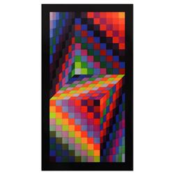 """Victor Vasarely (1908-1997), """"Axo-77"""" Heliogravure Print, Titled Inverso."""