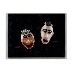 "George Marlowe ""The Bronze Brothers"" Framed Original Hand Made Ceramic Mask Sculpture; COA"