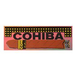 """Steve Kaufman (1960-2010), """"Cohiba Cigar"""" Hand Painted Limited Edition Silkscreen on Canvas from an"""