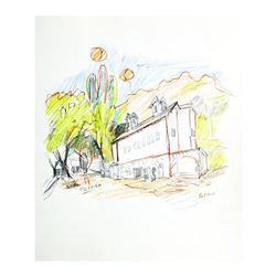 "Wayne Ensrud ""Niebaum-Coppola Winery, Napa Valley"" Pencil Original Artwork; Hand Signed; COA"