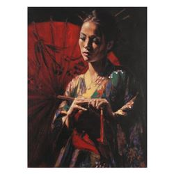 """Fabian Perez, """"Michiko"""" Hand Textured Limited Edition Giclee on Board. Hand Signed and Numbered."""