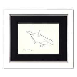 """Wyland - """"Orca"""" Framed Original Sketch, Hand Signed with Certificate of Authenticity."""