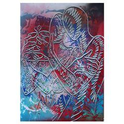 "Mark Kostabi, ""Celebrating Now"" Mixed Media Original Painting; Hand Signed, with COA."