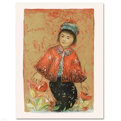 """""""New Red Jacket"""" Limited Edition Lithograph by Edna Hibel (1917-2014), Numbered and Hand Signed with"""