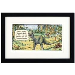 """Bizarro! """"Flintstones"""" is a Framed Limited Edition Hand Signed by creator Dan Piraro; Numbered with"""
