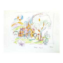 """Wayne Ensrud """"Beringer Vineyard, Napa Valley"""" Pencil Original Artwork; Hand Signed; COA"""
