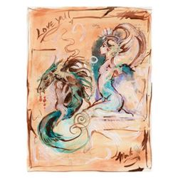 Marta Wiley, Original Mixed Media Painting on Canvas, Thumb Printed and Hand Signed with Certificate