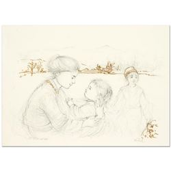"""Edna Hibel (1917-2014), """"Playful Mother and Baby"""" Limited Edition Lithograph with Remarque, Numbered"""