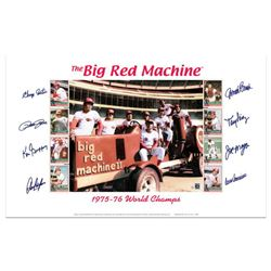 """""""Big Red Machine Tractor"""" Lithograph Signed by the Big Red Machine's Starting Eight, with Certificat"""