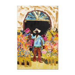 "Paul Blaine Henrie (1932-1999), ""The Box Seller"" Original Oil Painting (30"" x 48"") on Canvas, Hand S"