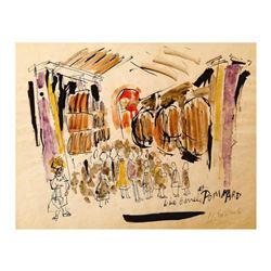 """Wayne Ensrud """"Wine Barrels at Pommard"""" Mixed Media Original Artwork; Hand Signed; COA"""