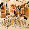 "Image 2 : Wayne Ensrud ""Wine Barrels at Pommard"" Mixed Media Original Artwork; Hand Signed; COA"