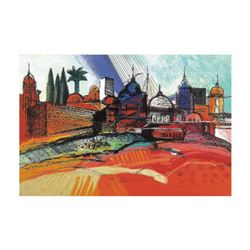 """Calman Shemi, """"Spring In Jerusalem"""" Limited Edition Serigraph, Numbered and Hand Signed with Letter"""