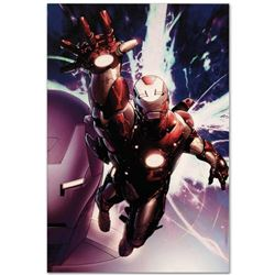 """Marvel Comics """"Invincible Iron Man #25"""" Numbered Limited Edition Giclee on Canvas by Salvador Larroc"""