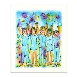 """Yanni Posnakoff, """"Children's Arms Up"""" Limited Edition Lithograph, Numbered and Hand Signed with Lett"""