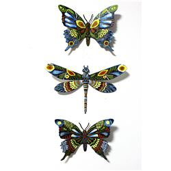 "Patricia Govezensky- Original Painting on Cutout Steel (Set of 3) ""Set of 3 Butterflies"""