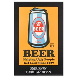 """""""Beer: Helping Ugly People Get Laid Since 1927"""" Fine Art Litho Poster (24"""" x 36"""") by Renowned Pop Ar"""