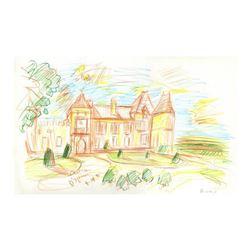 "Wayne Ensrud ""Chateau D'Yquem"" Pencil Original Artwork; Hand Signed; COA"