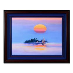 """H. Leung, """"Island Mirage"""" Framed Hand Embellished Limited Edition on Canvas, Numbered and Hand Signe"""