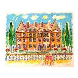 "Wayne Ensrud ""Chateau de Saran, Moet-Chandon"" Mixed Media Original Artwork; Hand Signed; COA"