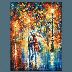 """Leonid Afremov """"Rainy Evening"""" Limited Edition Giclee on Canvas, Numbered and Signed; Certificate of"""