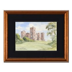 "Martin Goode (1932-2002), ""Riber Castle, Derbyshire"" Framed Original Watercolor Painting, Hand Signe"