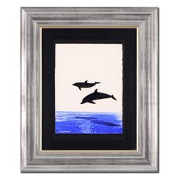 "Wyland, ""Two Dolphins"" Framed Original Watercolor Painting, Hand Signed with Certificate of Authenti"