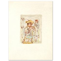 """Boy with Horn"" Limited Edition Lithograph by Edna Hibel (1917-2014), Numbered and Hand Signed with"