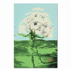 "Ringo, ""Man Ship (Dali Homage)"" One-of-a-Kind Hand-Pulled Silkscreen and Mixed Media Painting on Can"